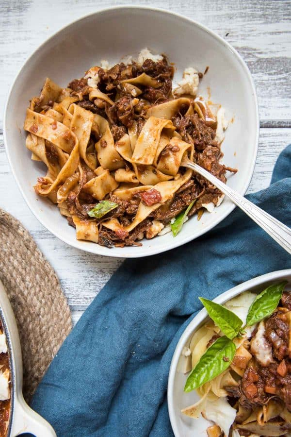 short rib bolognesse tossed with pappardelle pasta