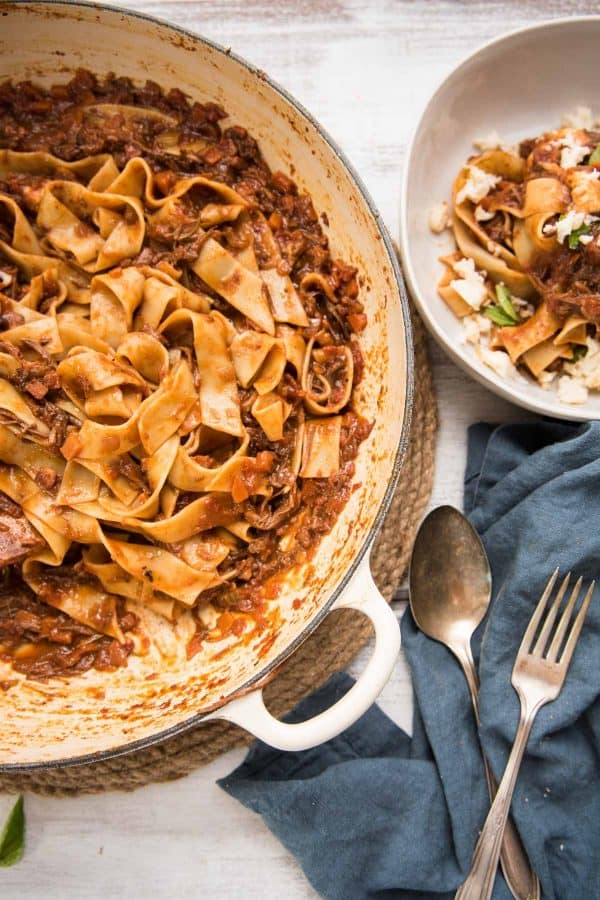 pappardelle pasta with short rib bolognese