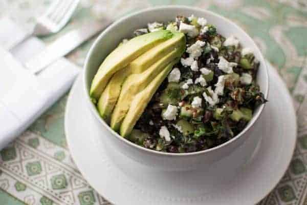 Cucumber Kale Salad with Avocado Dressing