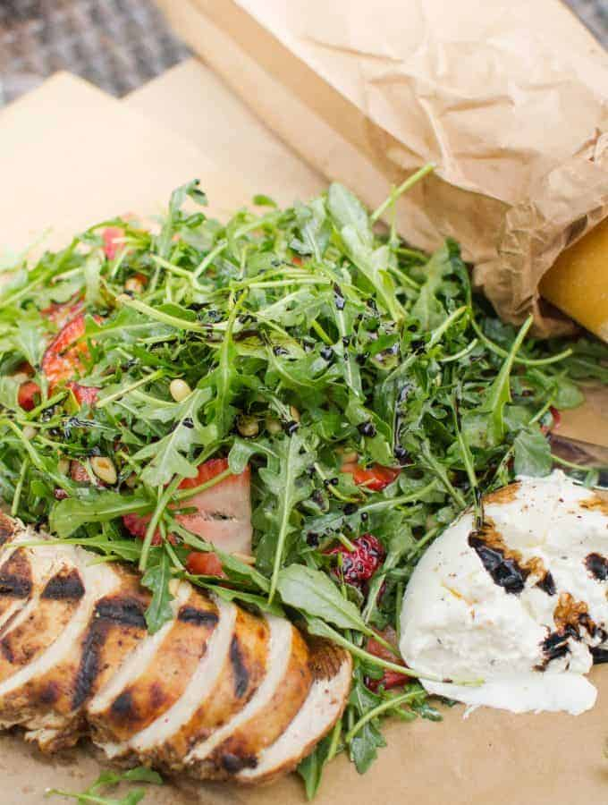 Burrata with Arugula & Strawberries