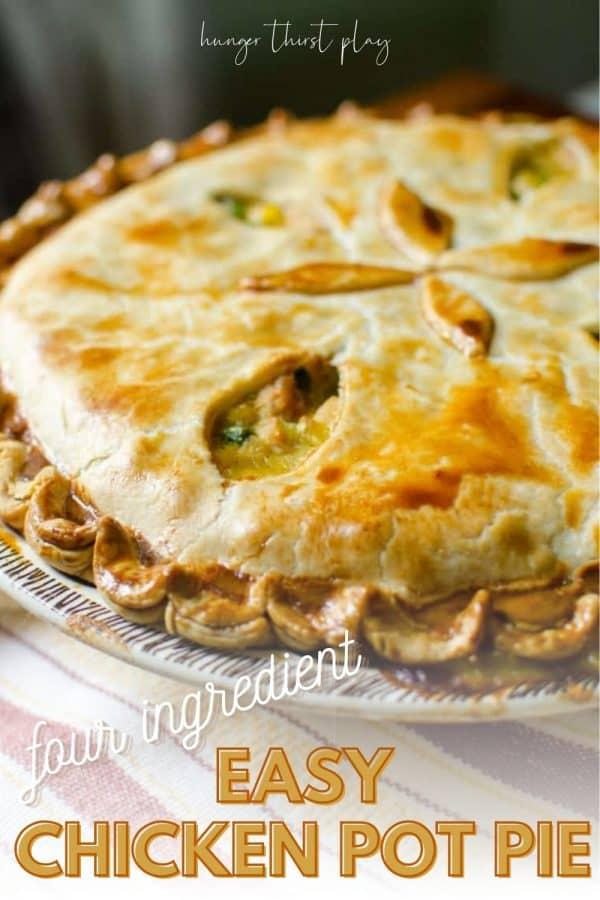 side angle of a whole savory pie