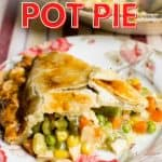 slice of chicken pot pie on a plate