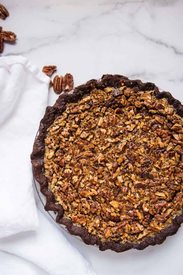 whole pecan pie in the pie dish