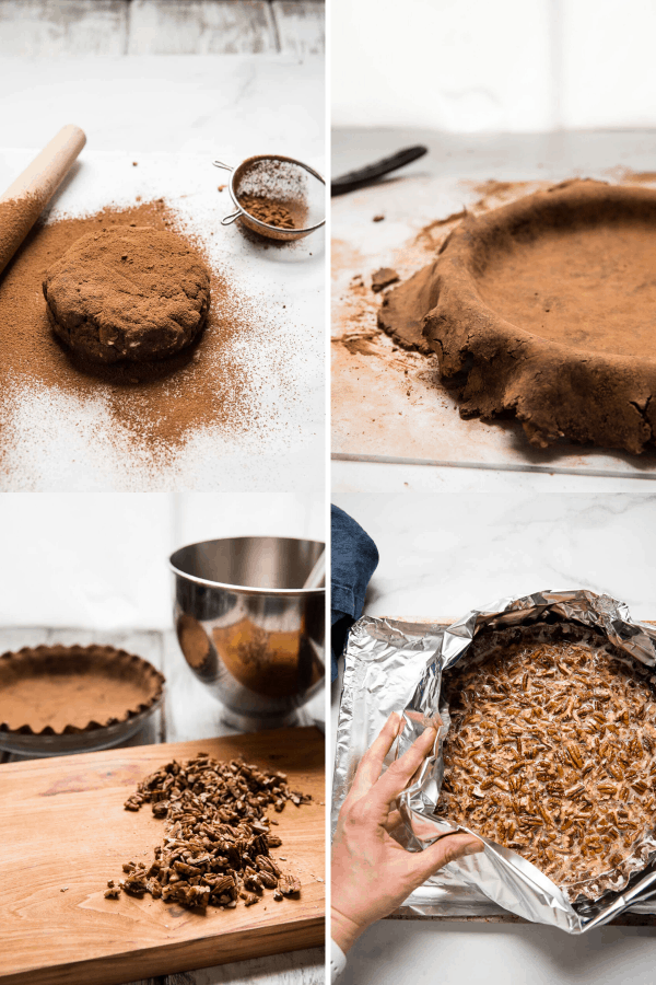 collage of making chocolate pie crust