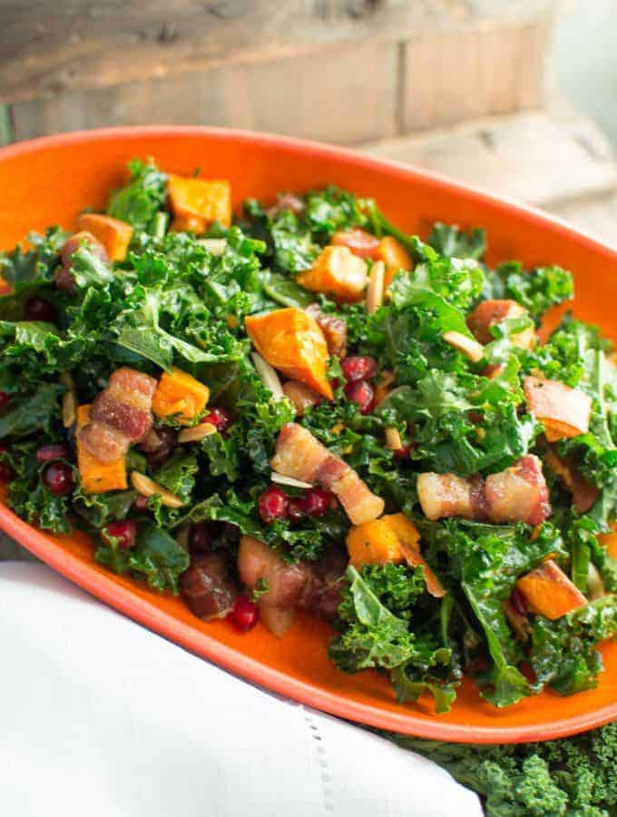 Kale salad with pork belly lardons