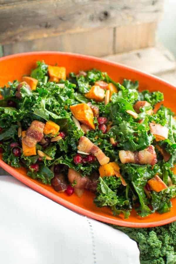 Kale salad with pork belly lardons