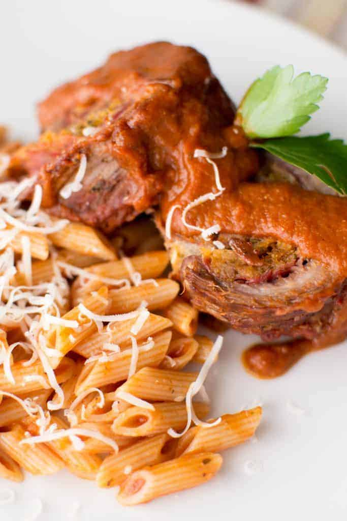 Braciole with penne in tomato sauce
