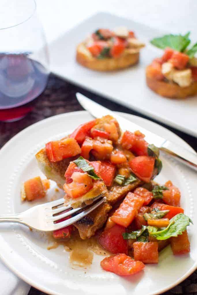 Homemade balsamic bruschetta