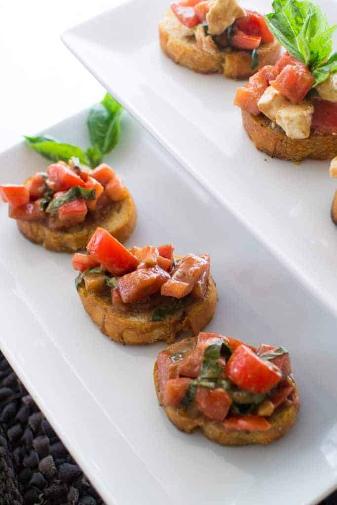 Each bite size balsamic bruschetta tomato is bursting with tangy, sweet balsamic flavor!