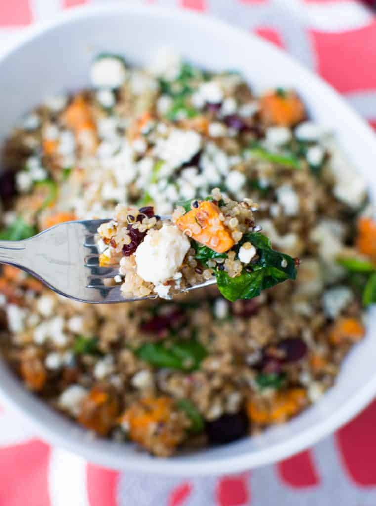 Quinoa with sweet potato, dried cranberries, spinach, gorgonzola & walnuts