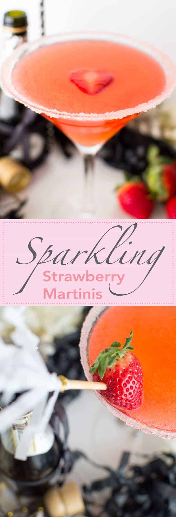 Sparkling Strawberry Martini - vodka, strawberries and champagne bubbles! Dangerously good!