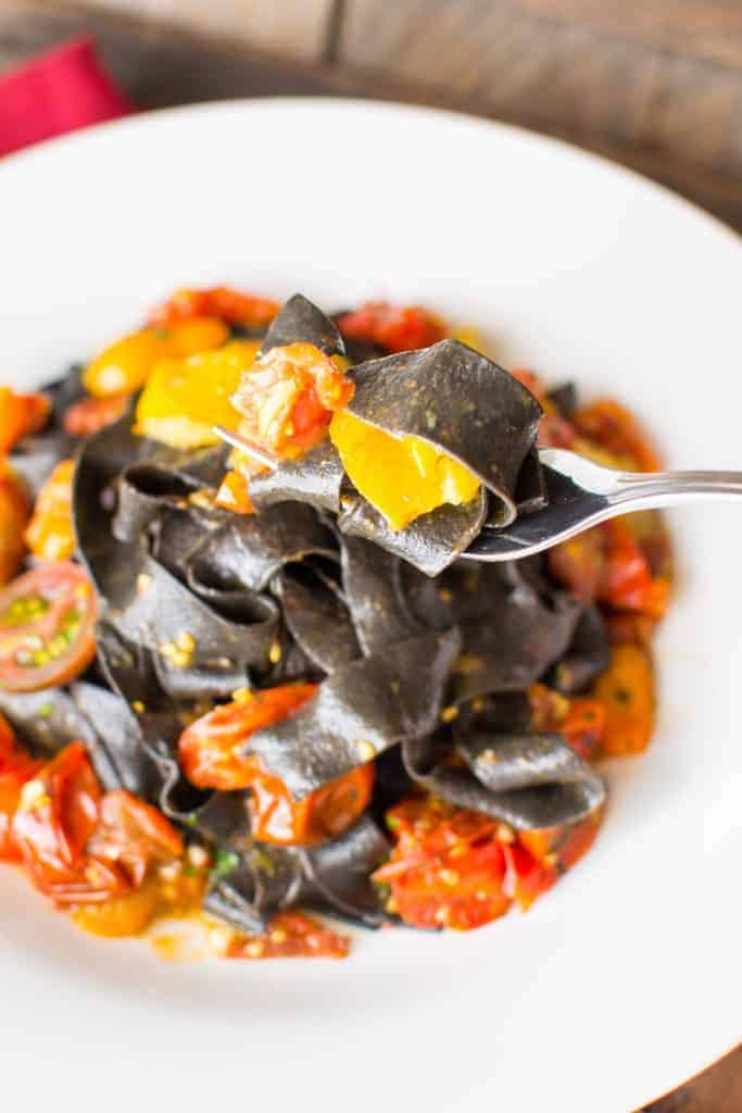 Squid Ink Pasta in Heirloom Tomato Sauce