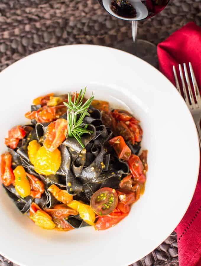 Squid Ink Pasta with Heirloom Cherry Tomatoes