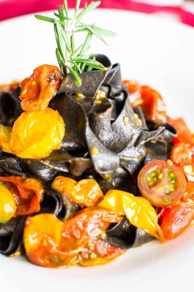 Fresh, handmade squid ink pasta with heirloom tomato sauce