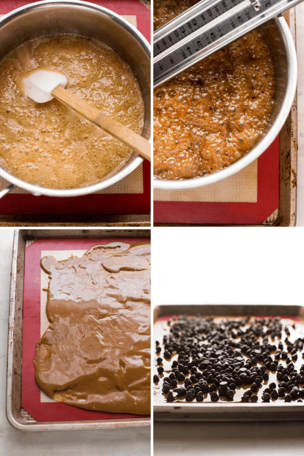 collage of buttercrunch toffee making