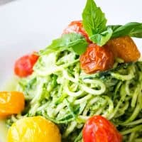 Avocado Pesto with Zucchini Noodles and Blistered Tomatoes