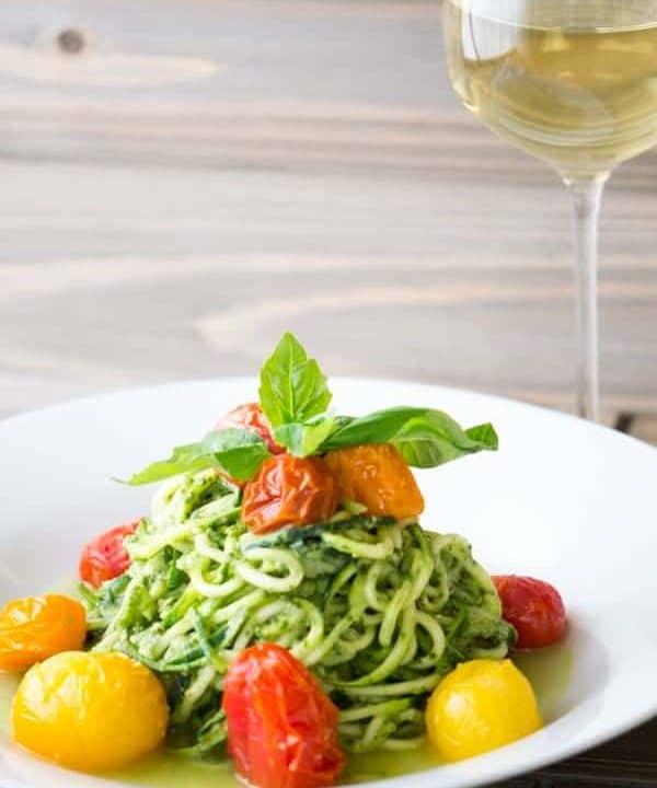 Avocado Pesto Zucchini Noodles Blistered Tomatoes