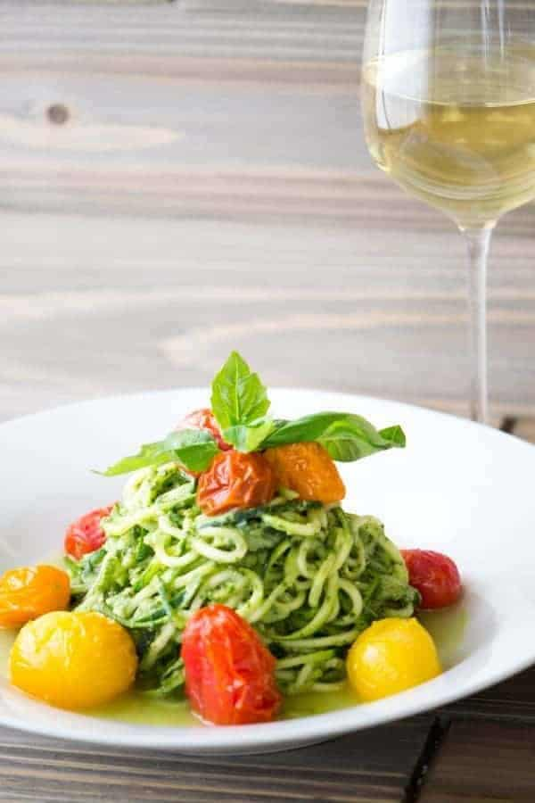 Avocado Pesto Zucchini Noodles with Blistered Tomatoes