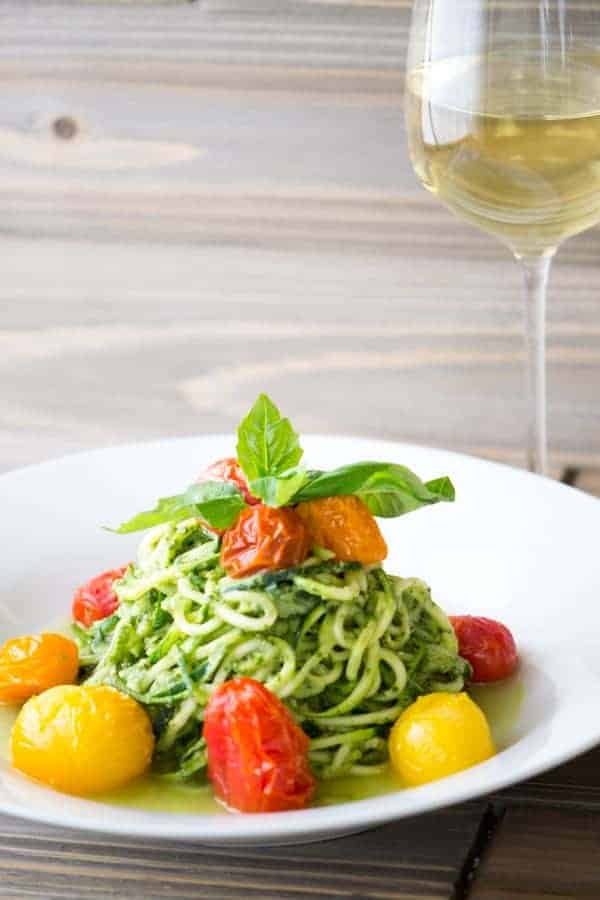 Avocado Pesto Zucchini Noodles Blistered Tomatoes
