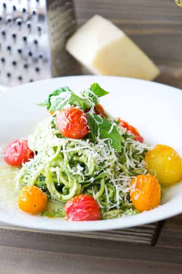 Avocado Pesto Zucchini Noodles and Blistered Tomatoes