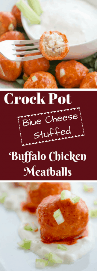 Everything you love about chicken meatballs in a one bite appetizer! Stuffed with blue cheese and easily cooked in the crock pot.