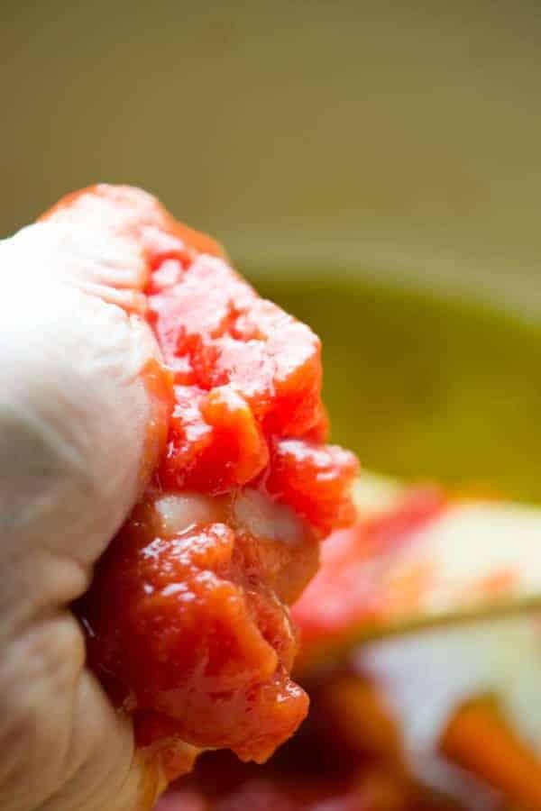 Hand crushed San Marzano tomatoes