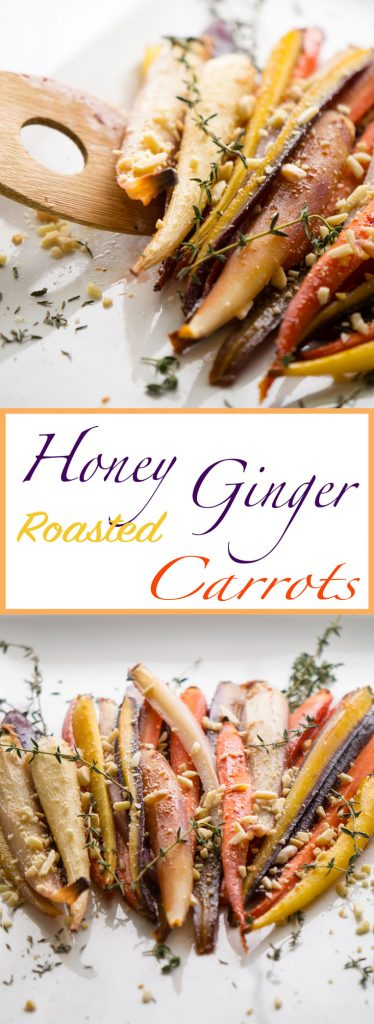 Raw honey and fresh ginger bring sweet and spice to eye-popping rainbow carrots.