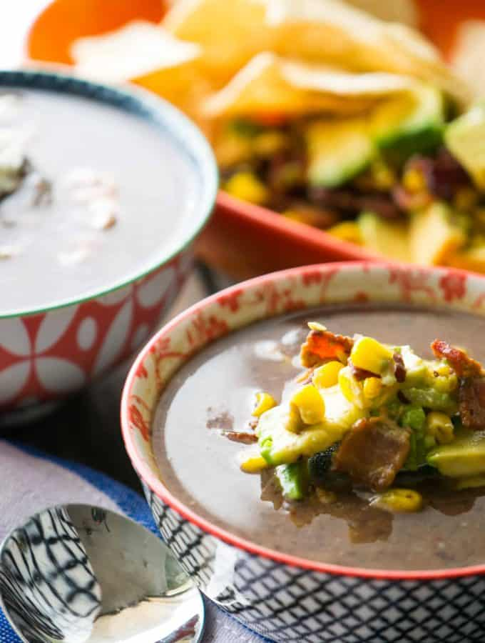 Mexican Black Bean Soup with Bacon Corn Salsa