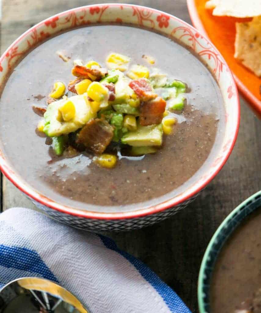 Mexican Black Bean Soup with Bacon-Avocado Corn Salsa!