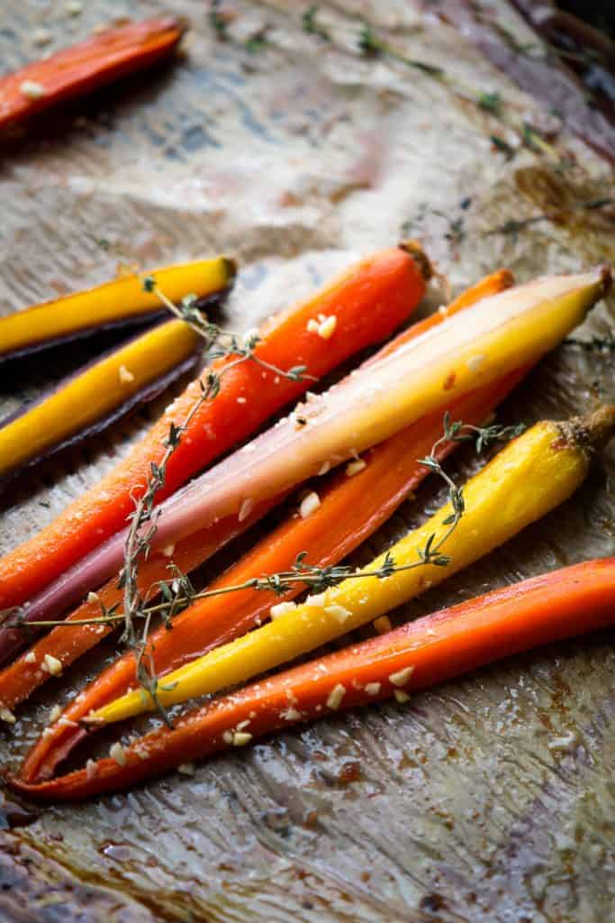 Honey and fresh ginger bring rainbow carrots to life