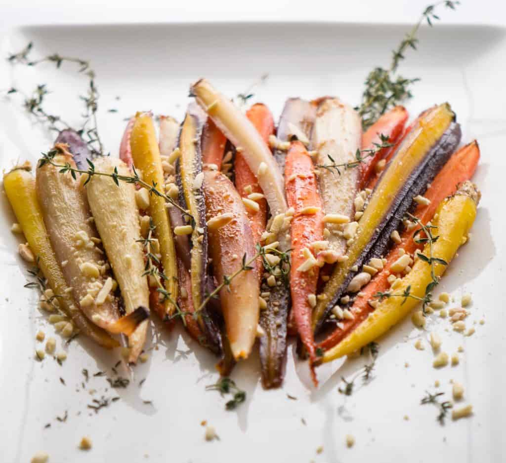 Honey and ginger roasted rainbow carrots
