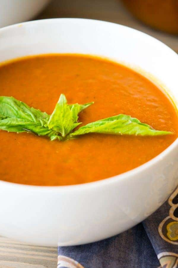 Tomato soup spiced with Sriracha and packed with vegetables