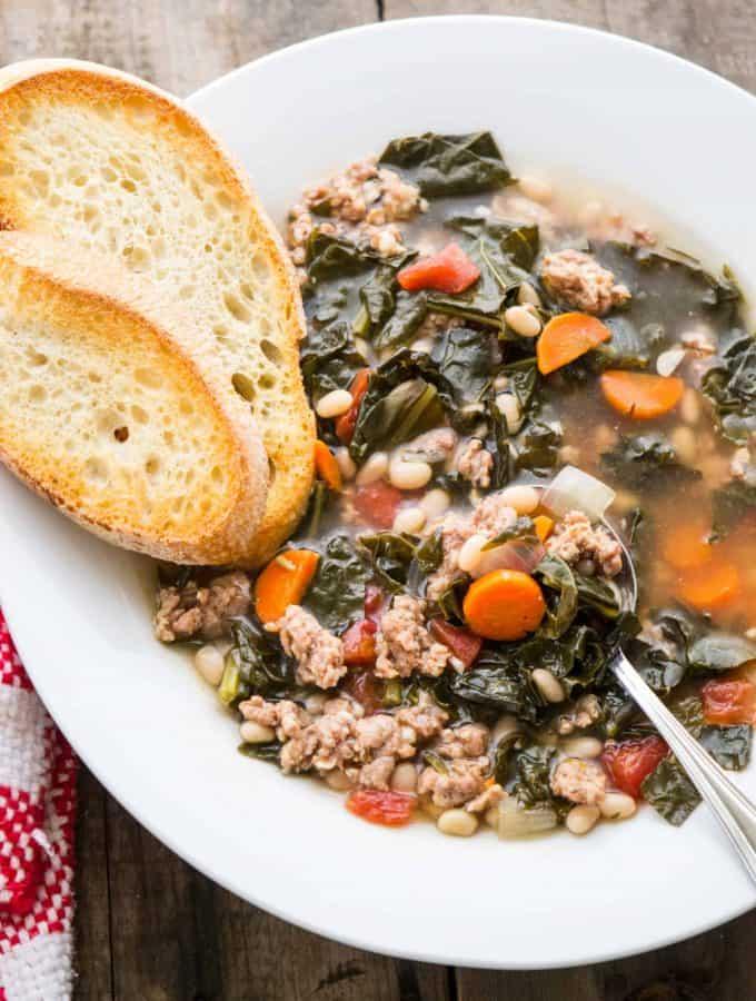Tuscan Kale, White Bean & Sausage Soup