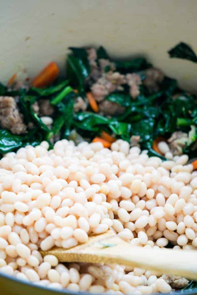 White beans are the substance of this hearty soup.