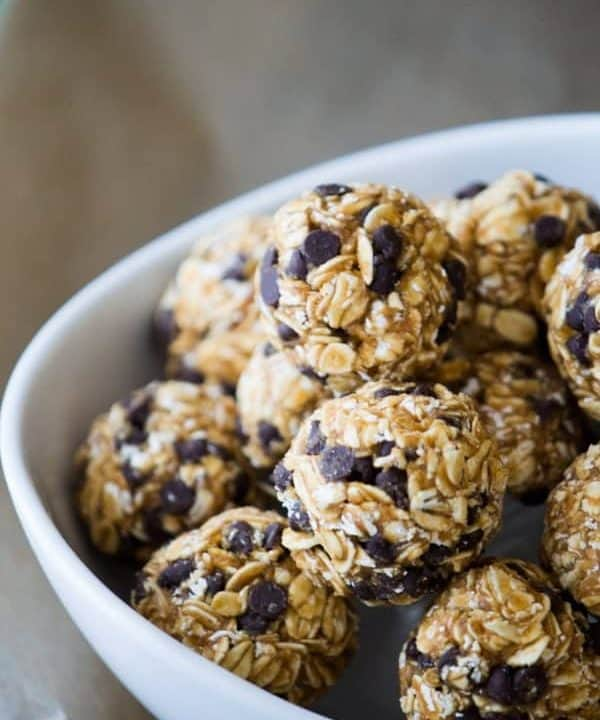 pb2 energy bites in a bowl