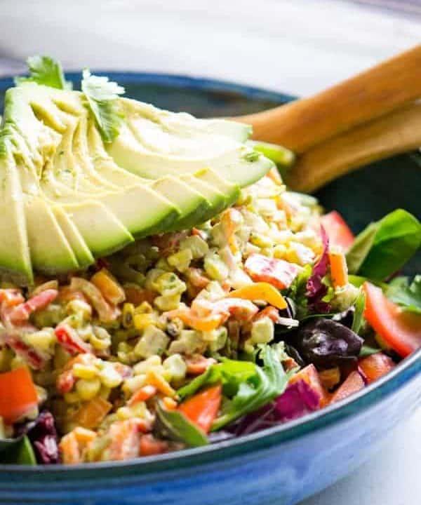 Grilled Corn Salad   Creamy Avocado Dressing
