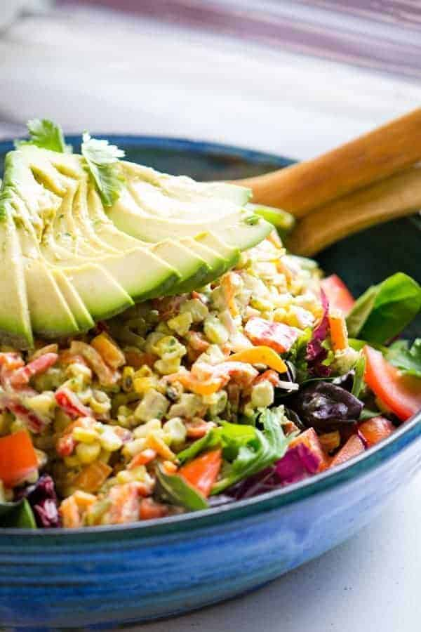 Grilled Corn Salad | Creamy Avocado Dressing