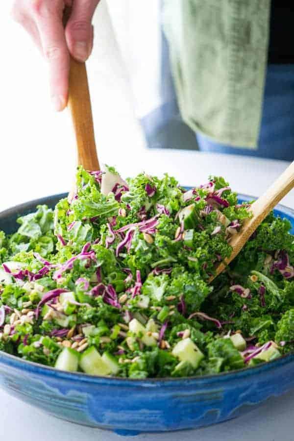 Spring Kale & Cucumber Salad with Honey-Ginger Dressing