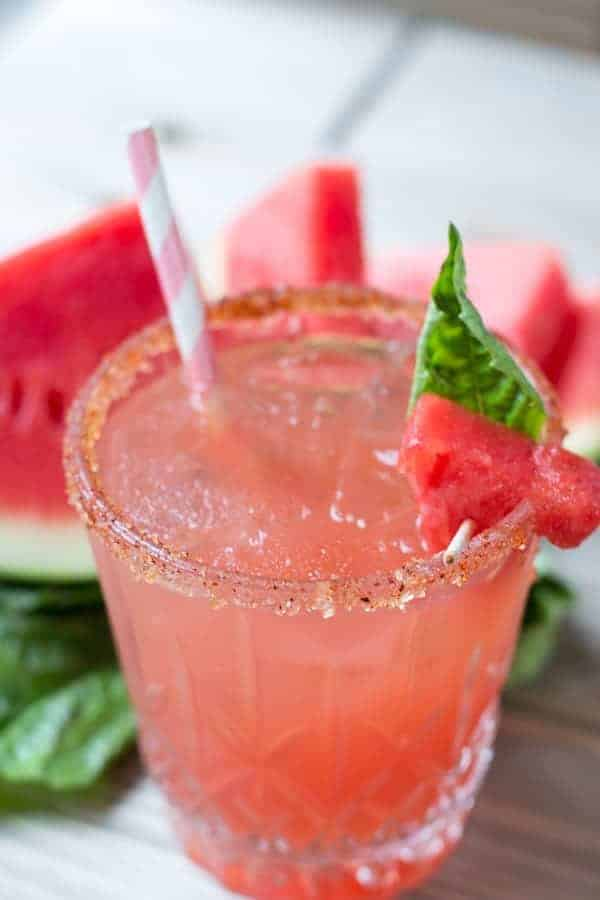 Watermelon Basil Margarita close up