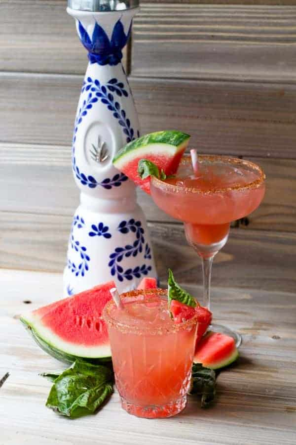 fresh watermelon around watermelon basil margaritas