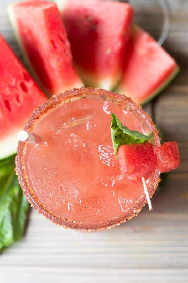 overhead view of watermelon basil margaritas