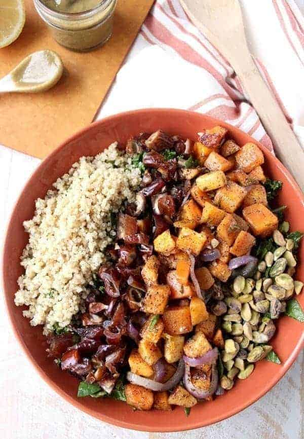 Roasted Butternut Kale Spinach Salad