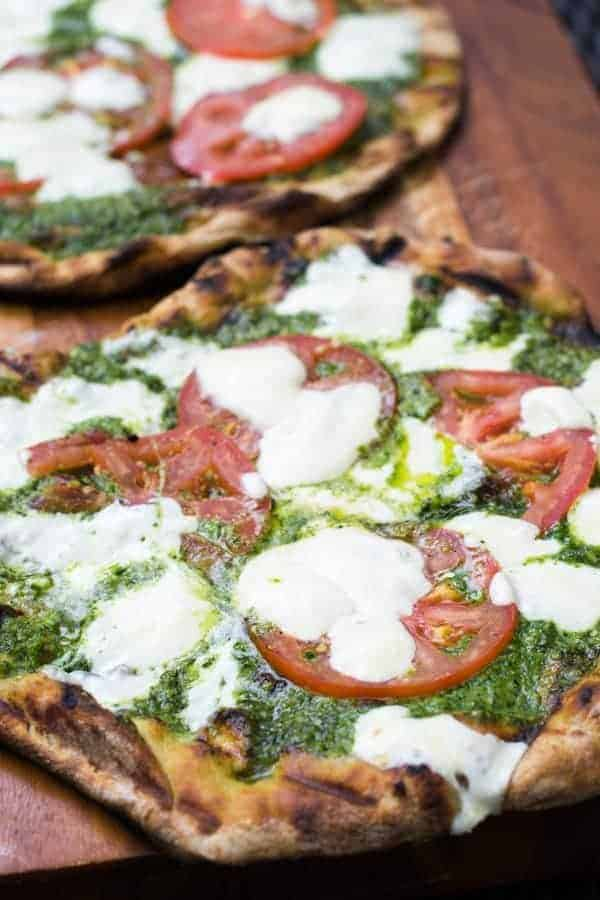 Kale & Spinach Pesto on Grilled Flatbread Pizza