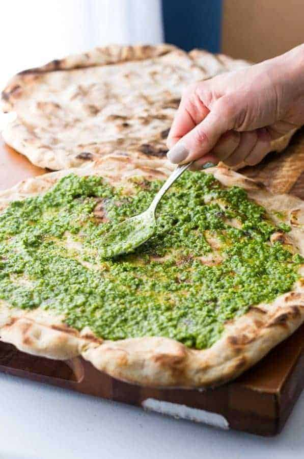 Kale & Spinach Pesto Grilled Flatbread
