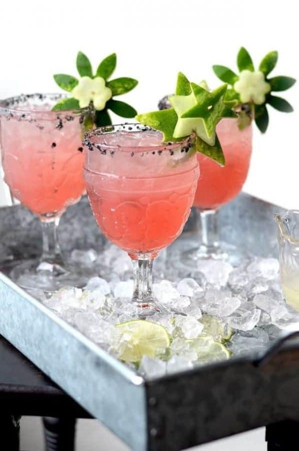 Watermelon Margaritas with Watermelon Rind Garnish