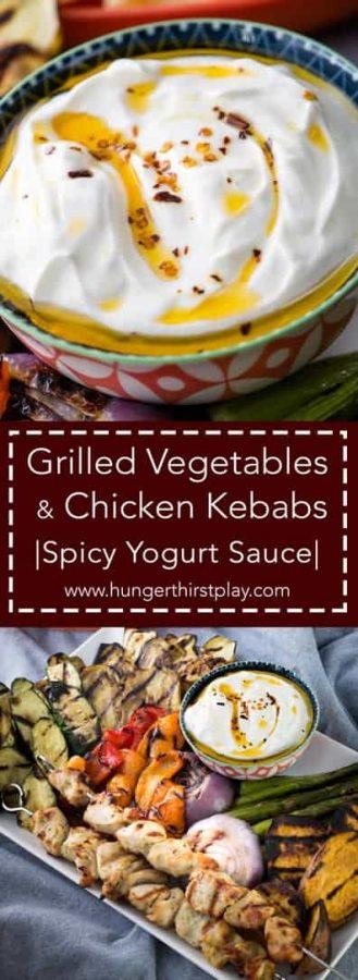 Grilled Vegetables | Chicken Kebab | Spicy Yogurt Sauce