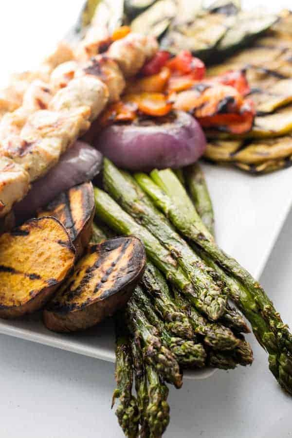 Grilled Vegetables & Chicken Kebab Spicy Yogurt Sauce