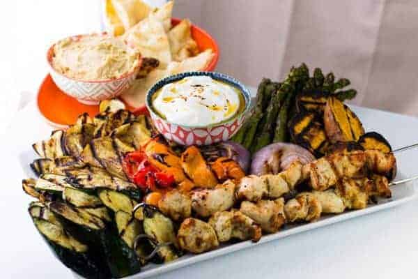 Grilled Vegetables & Chicken | Spicy Yogurt Sauce