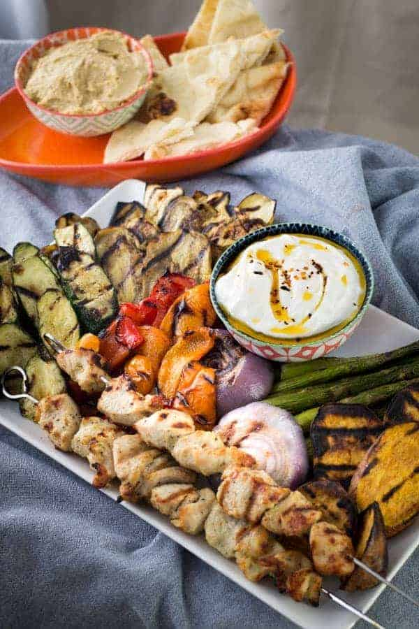 Grilled Vegetables & Chicken   Spicy Yogurt Sauce
