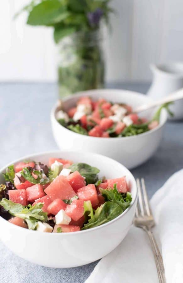Watermelon Feta Salad with White Balsamic Reduction